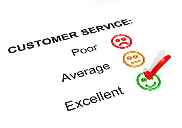 Diagram showing poor, average and excellent customer service