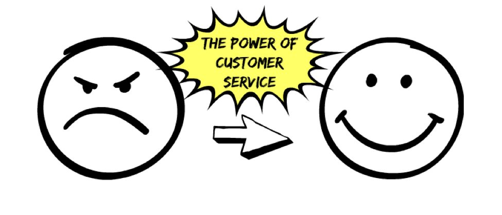 Drawing of a sad face and a happy face with the words 'the power of customer service' between them.