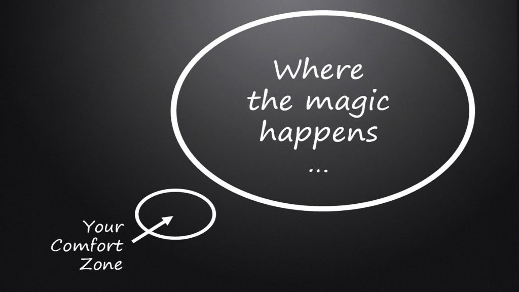 Black background with white writing inside a speech bubble saying 'where the magic happens' and a smaller speech bubble underneath saying 'where the magic happens'.